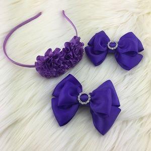 Satin Hair bow clips with headband